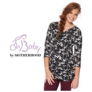 OH Baby Motherhood Maternity Top M L Black White